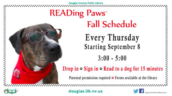 Promotional handout for the Douglas County Public Library's READing Paws program, created by DCPL staff
